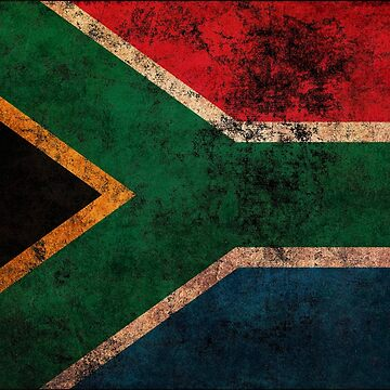 South African Flag Old Weathered Distressed Worn Grunge Style by BennyBearProof