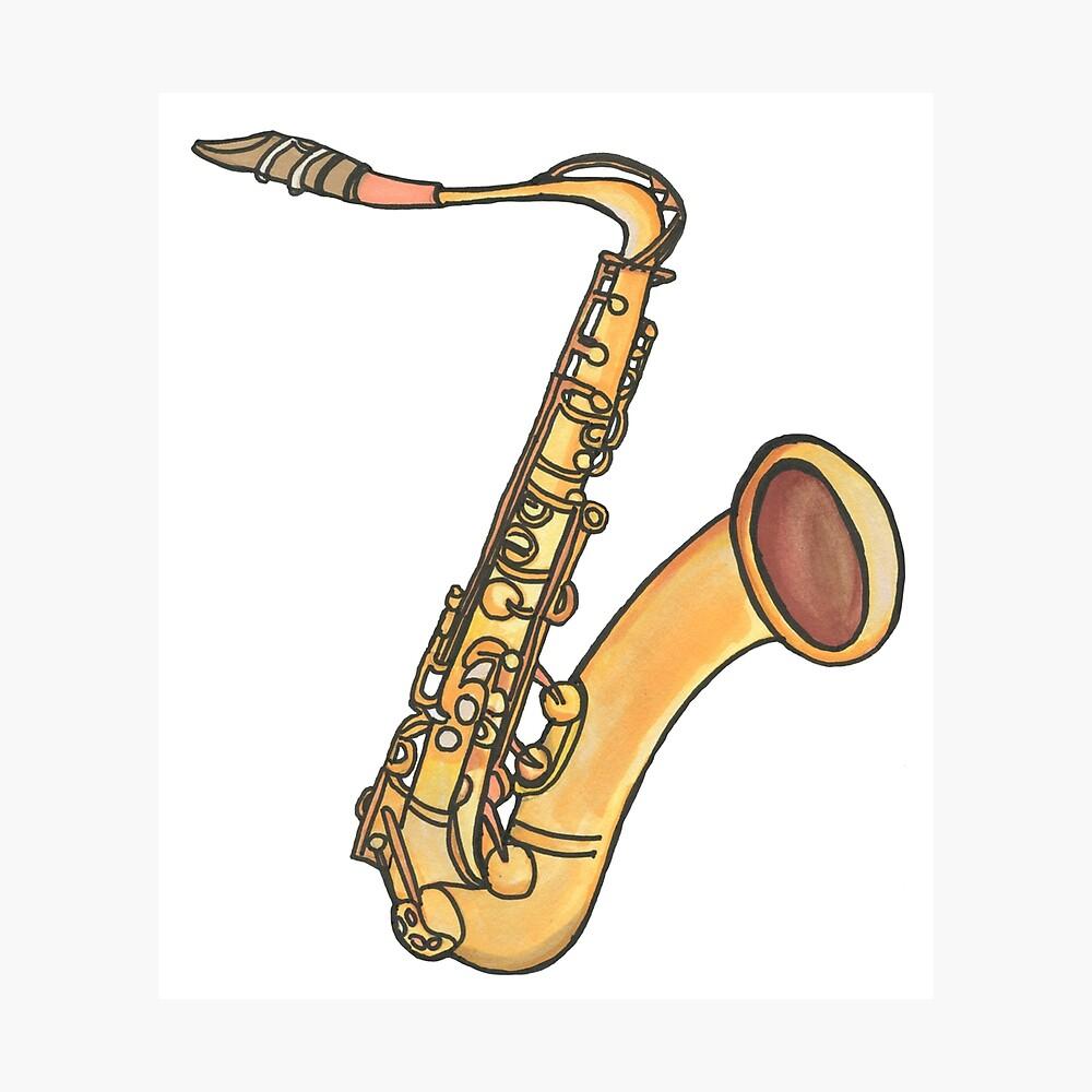 Poster Instrument De Musique Instrument A Vent Jazz Blues Saxophone Jaune Orange Dessin Promarker Bebicervin Par Bebicervin Redbubble