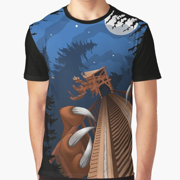 NIGHT RIDES ONLY Beast Wooden Roller Coaster at Kings Island Theme Park Graphic T-Shirt