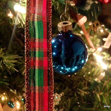Christmas Blue Ball Ornament With Ribbon by JoeyOConnor