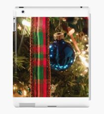 Christmas Blue Ball Ornament With Ribbon iPad Case/Skin
