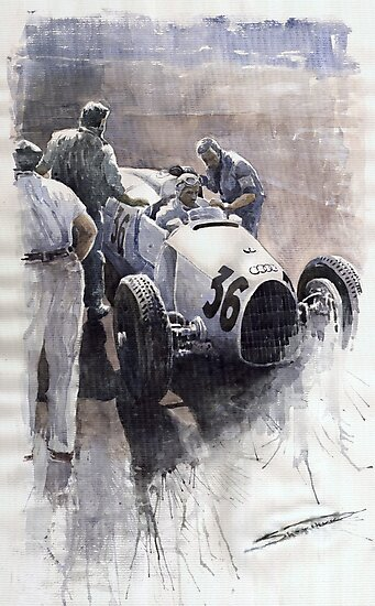 Auto Union B type 1935 Italian GP Monza B Rosermeyer by Yuriy Shevchuk