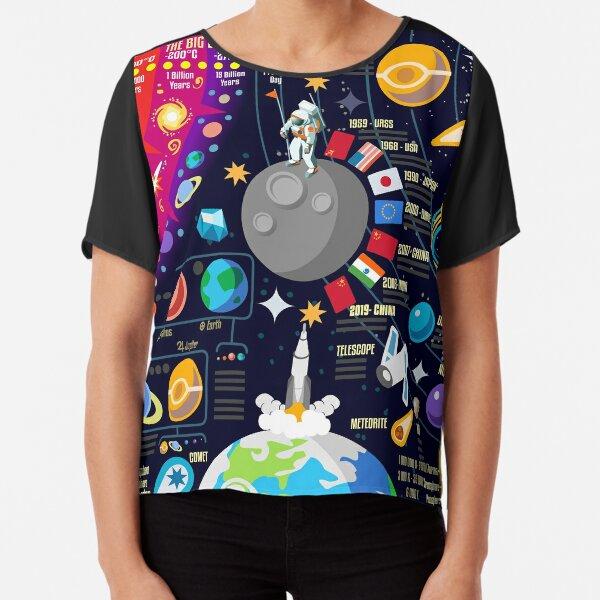Space Universe Infographics Big Bang Chiffon Top