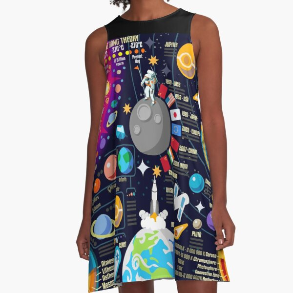 Space Universe Infographics Big Bang A-Line Dress