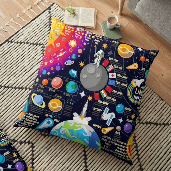 Space Universe Infographics Big Bang Floor Pillow