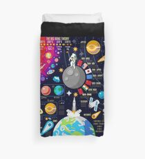 Space Universe Infographics Big Bang Duvet Cover