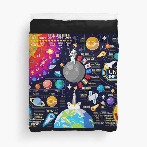 Space Universe Infographics Big Bang Duvet Cover