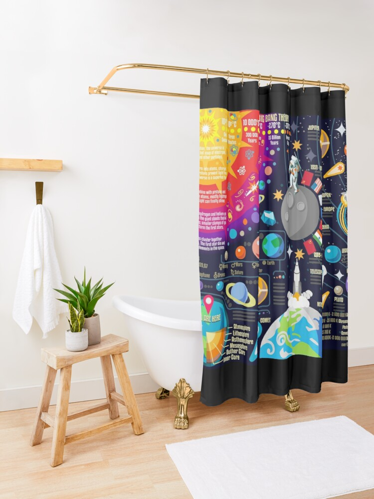 Alternate view of Space Universe Infographics Big Bang Shower Curtain