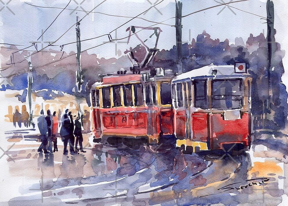 Prague Old Tram 01 by Yuriy Shevchuk