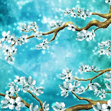 Tranquility Blossoms - Winter White And Blue by jitterfly
