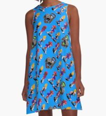 zombies ate my neighbors pattern TBL8R-ZAMN | retrogaming nostalgia A-Line Dress