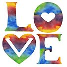 Rainbow Love Sign Watercolor Silhouette Letters & Hearts  by Irina Sztukowski