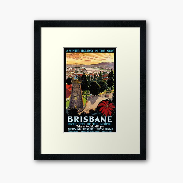 Brisbane, Australia Vintage Travel Poster Restored Framed Art Print