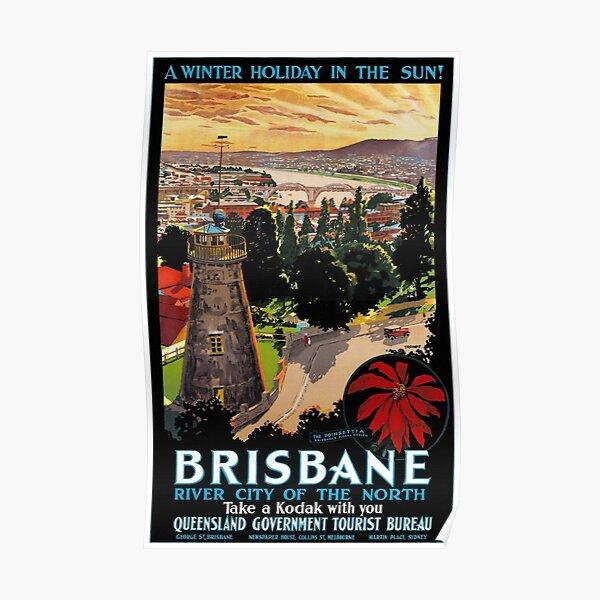 Brisbane, Australia Vintage Travel Poster Restored Poster