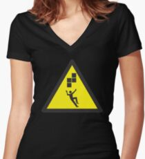 Look Out! Tetris! Women's Fitted V-Neck T-Shirt