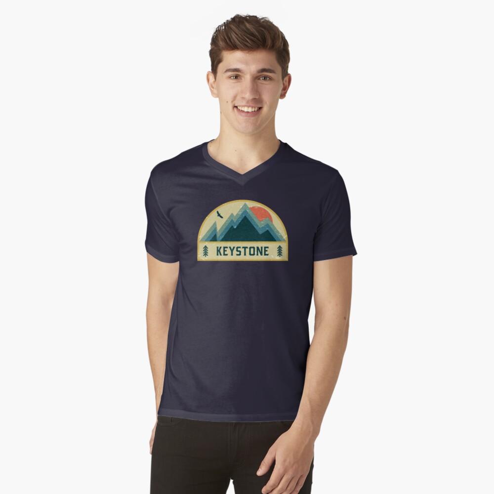 Keystone Retro Berg Abzeichen T-Shirt mit V-Ausschnitt