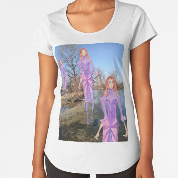 Redhead girl wearing a purple dress Premium Scoop T-Shirt