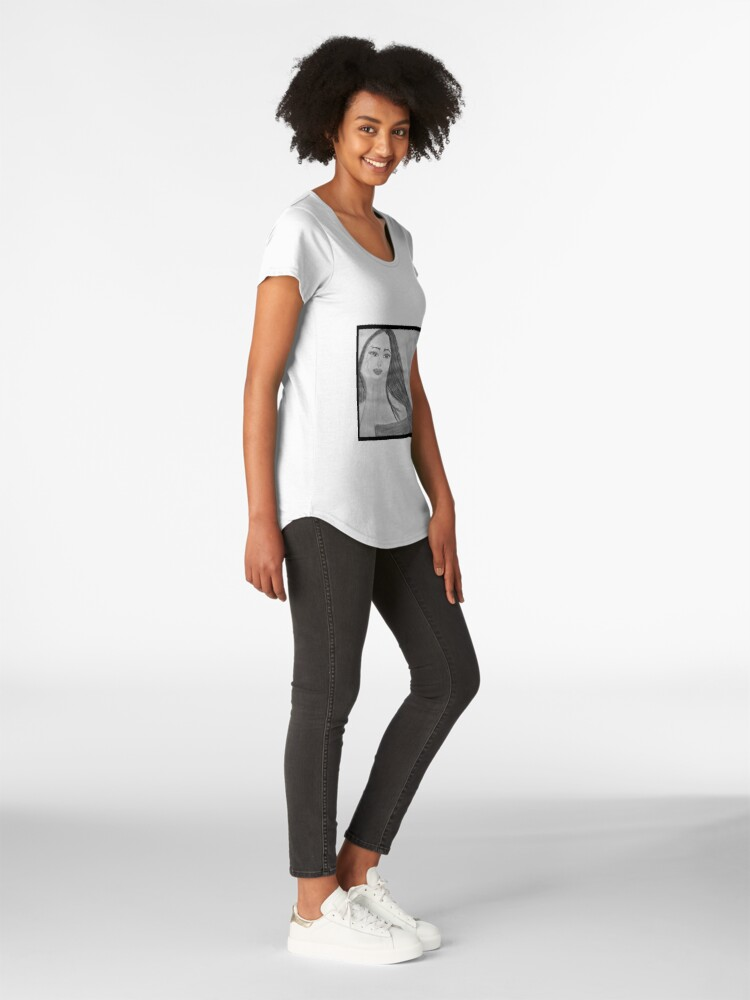 Alternate view of Black and White Watercolour Portrait Premium Scoop T-Shirt