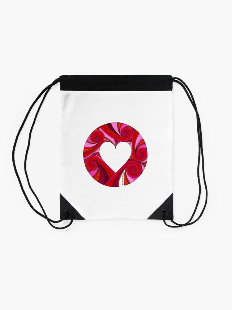 Alternate view of Valentine Heart!  Drawstring Bag