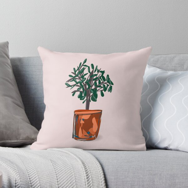 Houseplant with semi-abstract pot. Throw Pillow