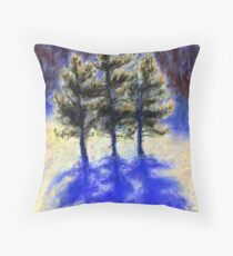 Three Pines. Snow in Virginia Throw Pillow