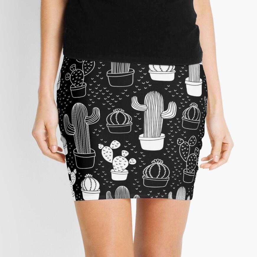 Black & White Cactus Doodle Pattern Mini Skirt