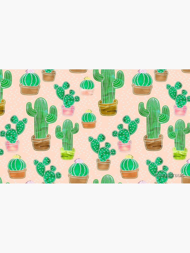 Potted Cactus & Pink Drawing by tanyadraws