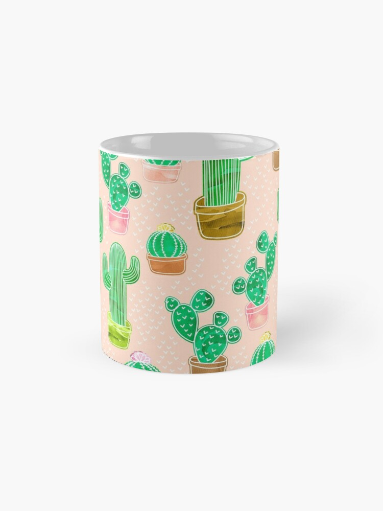 Alternate view of Potted Cactus & Pink Drawing Mug