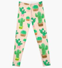 Potted Cactus & Pink Drawing Leggings