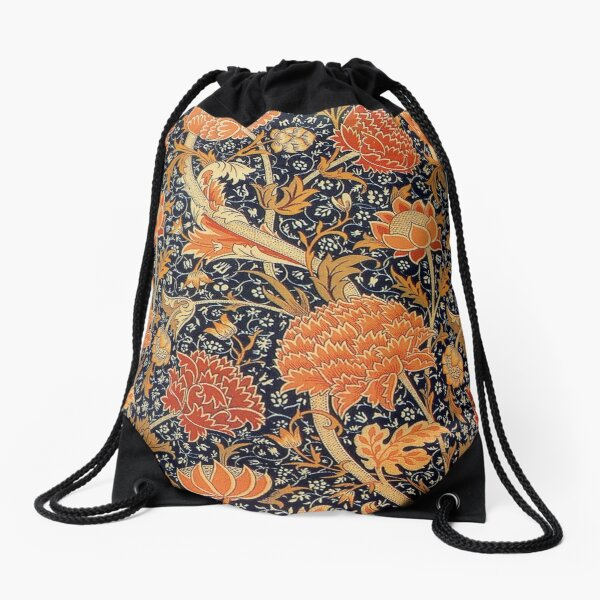 William Morris Orange Cray Art Floral Floral Sac à cordon
