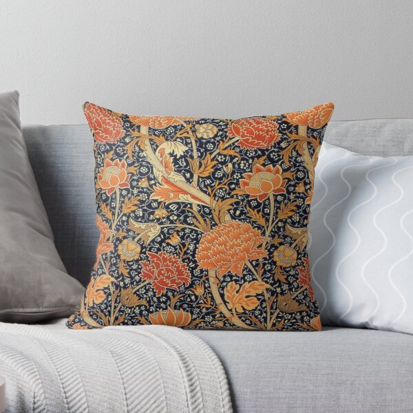 William Morris Orange Cray Floral Art Nouveau Throw Pillow