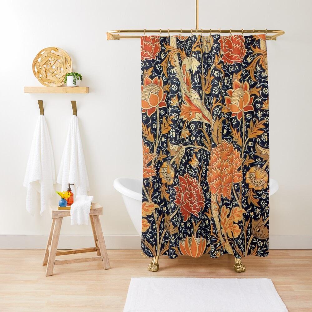 William Morris Orange Cray Floral Art Nouveau Shower Curtain