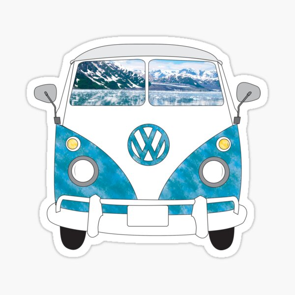 VW Bus Mountains Sticker