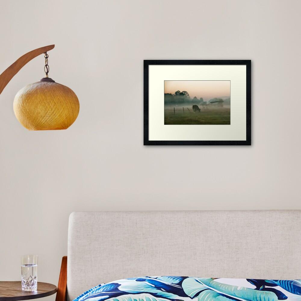 Foggy morning at the farm Framed Art Print