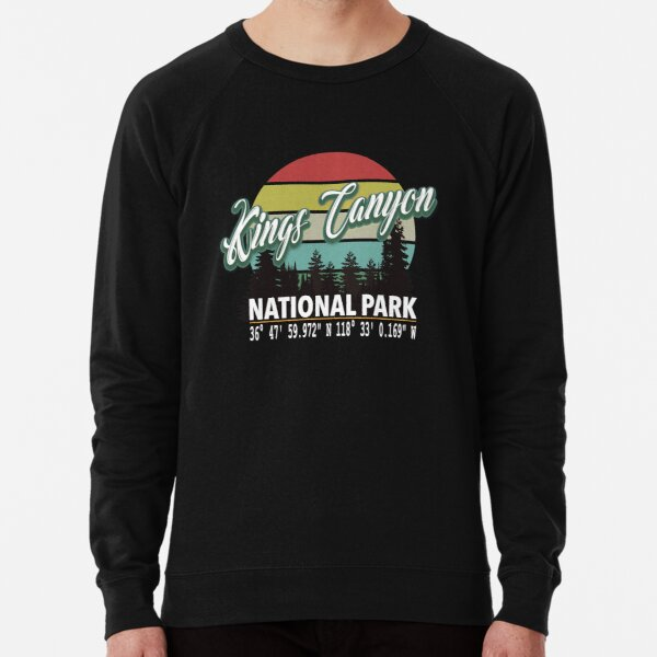 Kings Canyon National Park With Awesome GPS Location Design Lightweight Sweatshirt