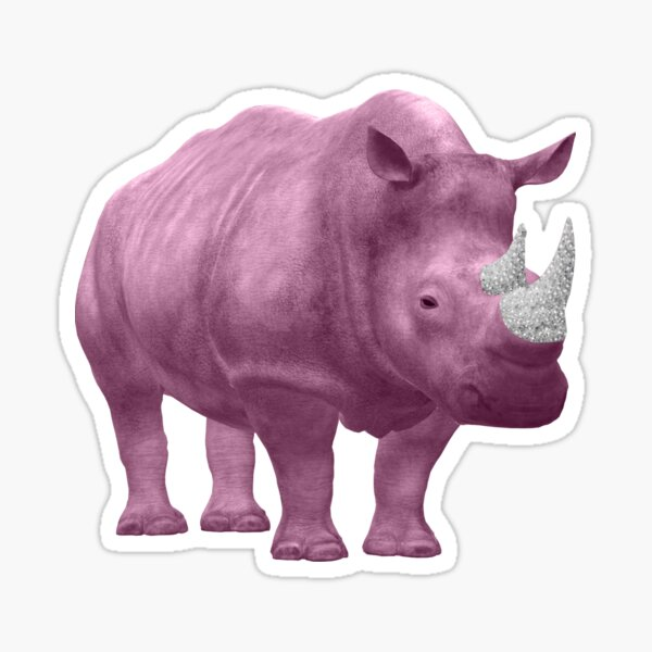 Pink Rhino Bling Horn - Bassa Sababa Sticker