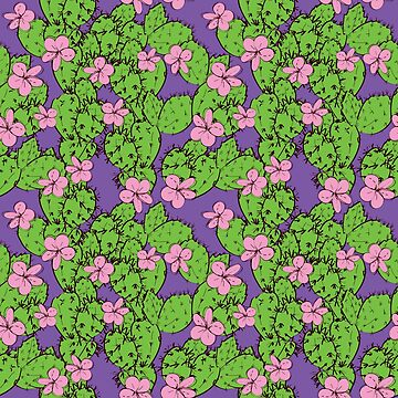 cactus with flowers sketch green lilac pink, black contour on purple background. simple ornament by EkaterinaP