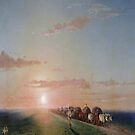 Ox train on the steppe-Ivan Aivazovsky by LexBauer