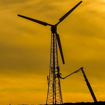 Israel, Golan Heights, Fixing a wind turbine at sunset by PhotoStock-Isra