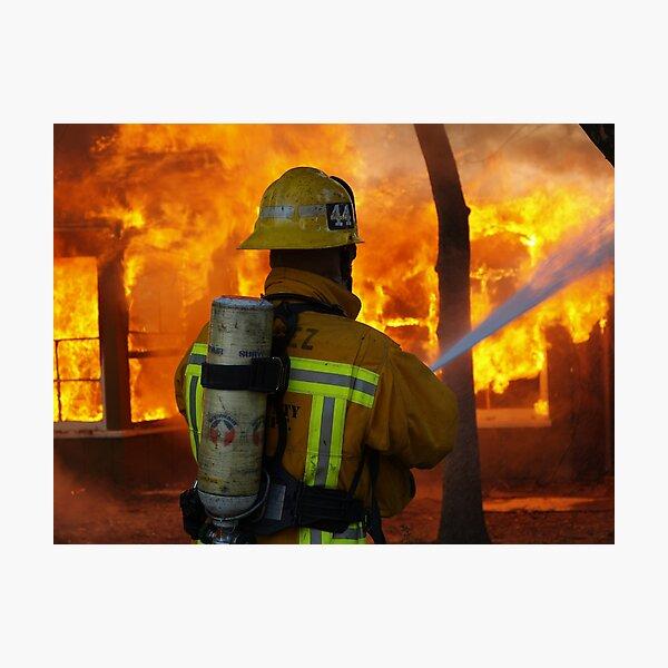 LA CoFD E44 working a training fire Photographic Print