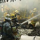 Foamy Firefight at a training fire by chibiphoto