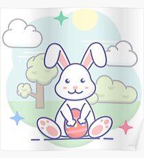 Süßer Osterhase im Frühling Poster