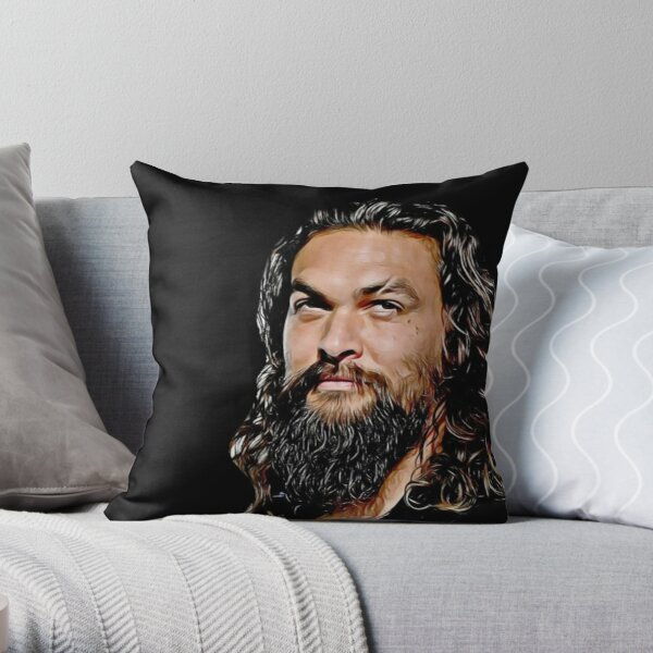 Jason Momoa digital artwork, drawing painting, fanart, fandom, sexy hot, black and white, good vibes Throw Pillow