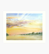 sunset on a bay Art Print