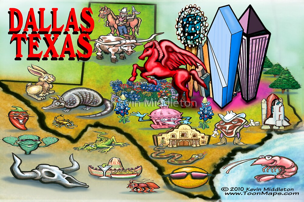 """""""Dallas TEXAS Cartoon Map"""" by Kevin Middleton 