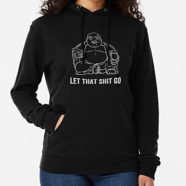 Black Print Let That Sh-t Go Buddha X-Large Red Youth Hood Funny