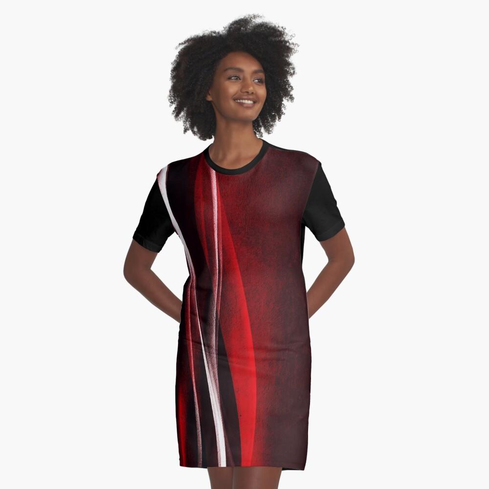 Red Velvet Wave Graphic T-Shirt Dress