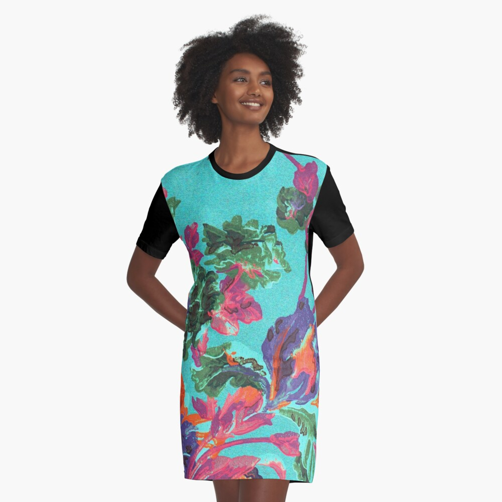 Happy Blooms Graphic T-Shirt Dress