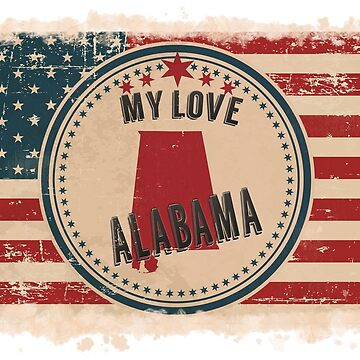 Alabama Pride Retro US Flag by Flaudermoon