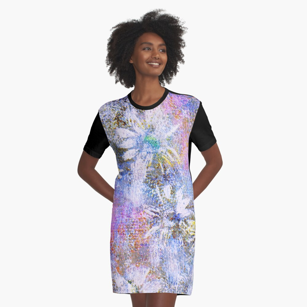 Chaotic Daisies Graphic T-Shirt Dress
